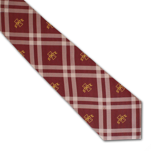 Cover Image For I-State Plaid Tie (Cardinal)