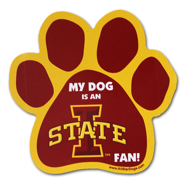 Image For Iowa State Fan Paw Print Car Magnet