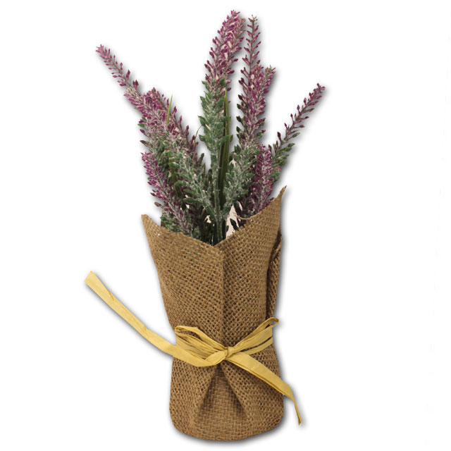 Image For Artificial Lavender Burlap Pot