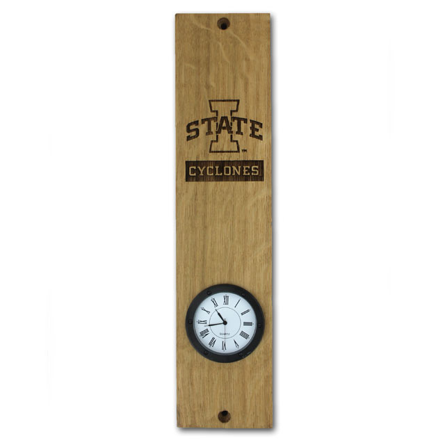 Image For I-State Cyclones Barrel Stave Clock* <i>WAS $39.99</i>