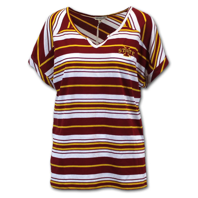 Image For University Girls Women's Striped V-Neck T-Shirt