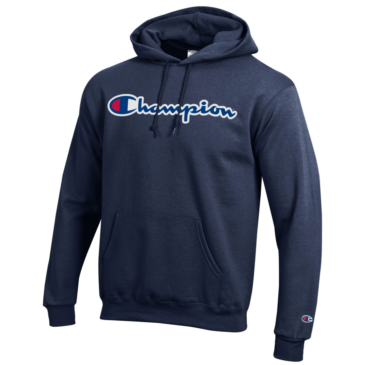 Image For Champion® Branded Navy Hooded Sweatshirt