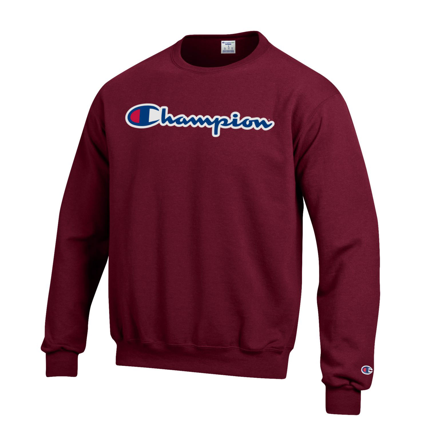 Image For Champion® Branded Maroon Crew Neck Sweatshirt