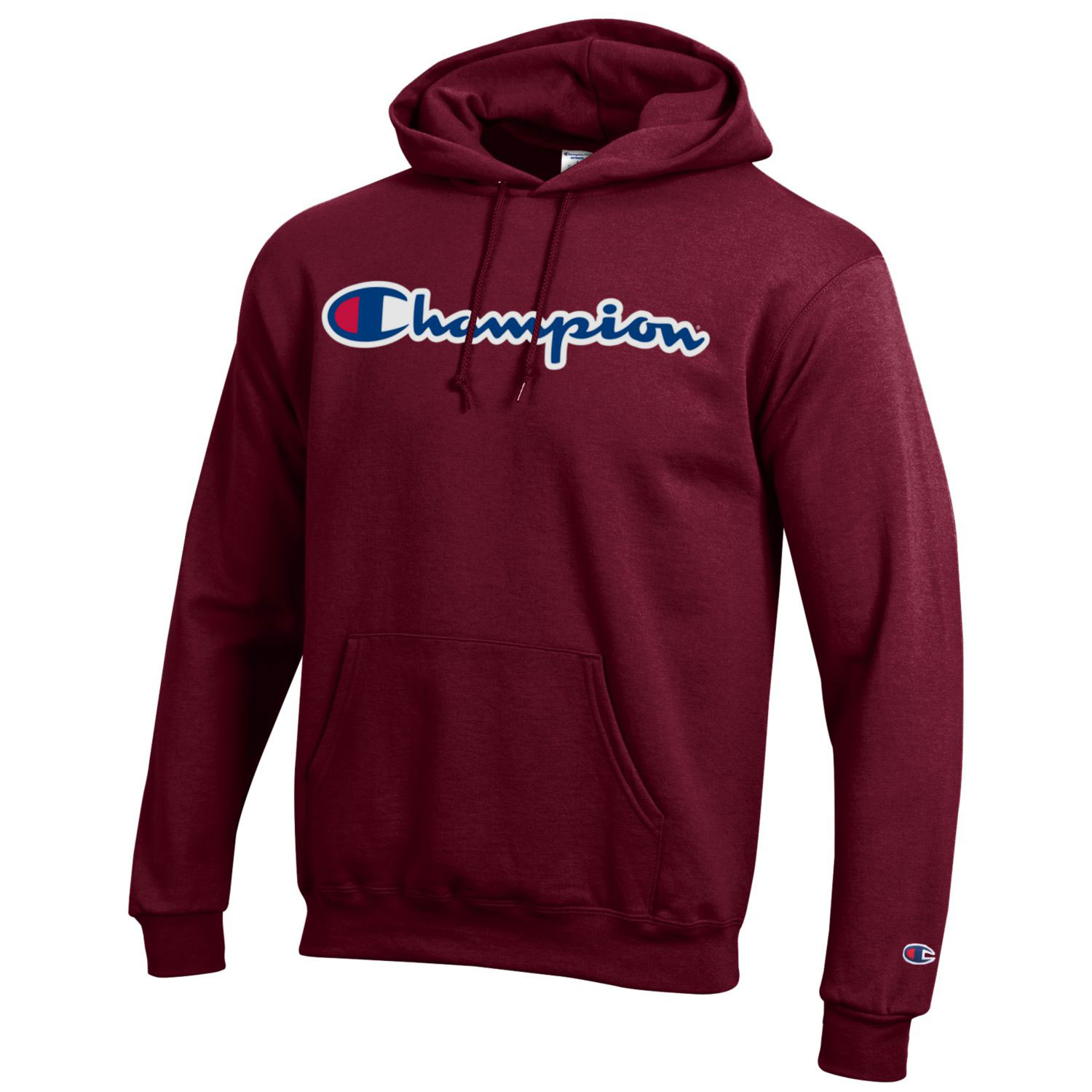 Image For Champion® Branded Maroon Hooded Sweatshirt