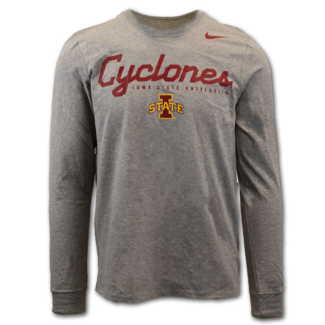 Image For Nike® Gray Cyclones Long Sleeve T-Shirt