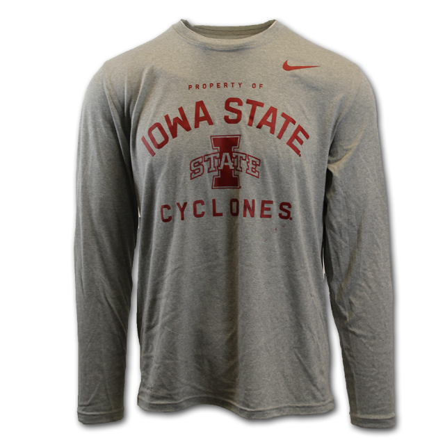 Image For Nike® Gray Iowa State Long Sleeve T-Shirt