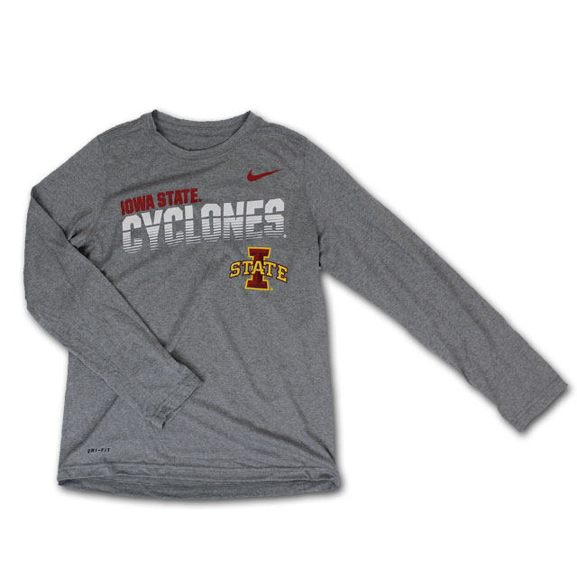 Cover Image For Nike® Youth Grey Long-Sleeve T-Shirt