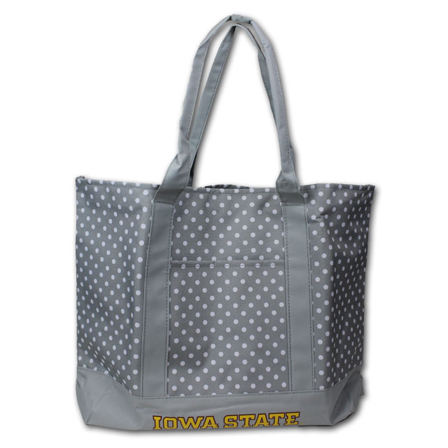 Image For Grey Polkadot Tote