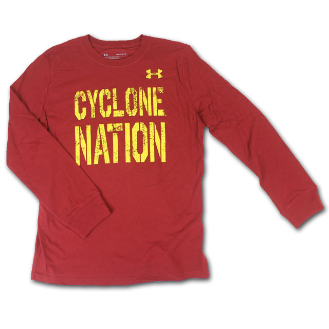Cover Image For UA® Youth Cyclone Nation Long Sleeve T-Shirt (Cardinal)