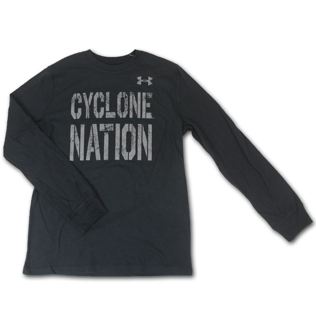 Cover Image For UA® Youth Cyclone Nation Long Sleeve T-Shirt (Black)