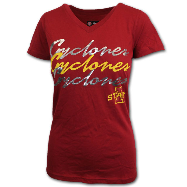 Image For 47' Women's Cardinal Cyclones V-Neck T-Shirt * WAS $19.99
