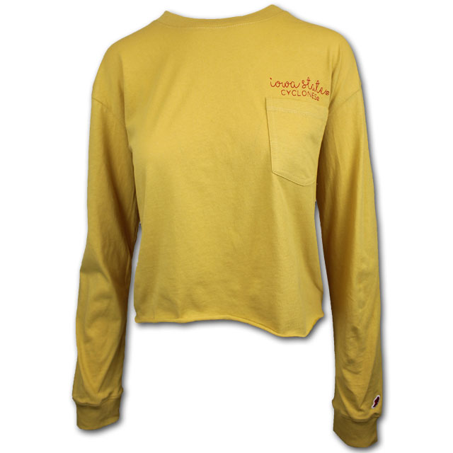 Image For Women's Long Sleeve Gold Cropped T-Shirt