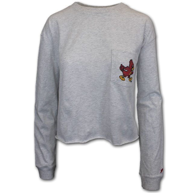 Image For Women's Long Sleeve Grey Cropped T-Shirt