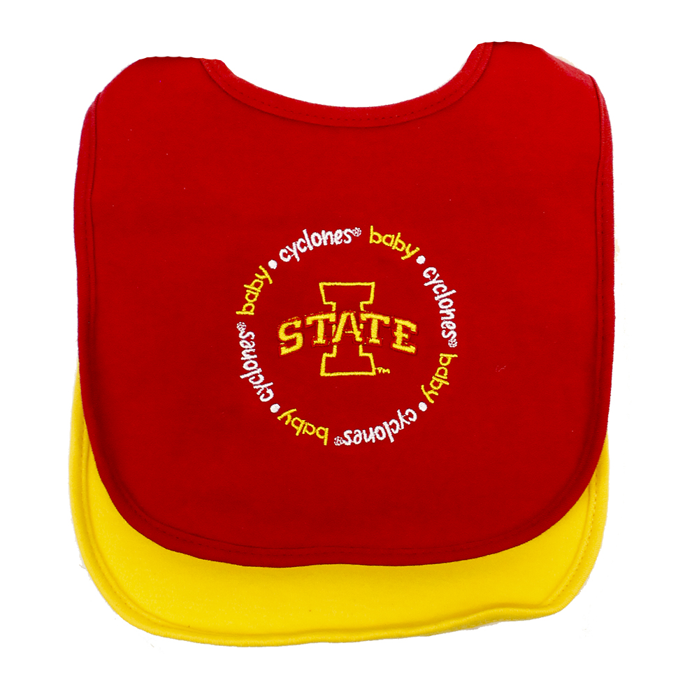 Image For I-State Cyclone Baby 2-pack Cardinal and Gold Bibs