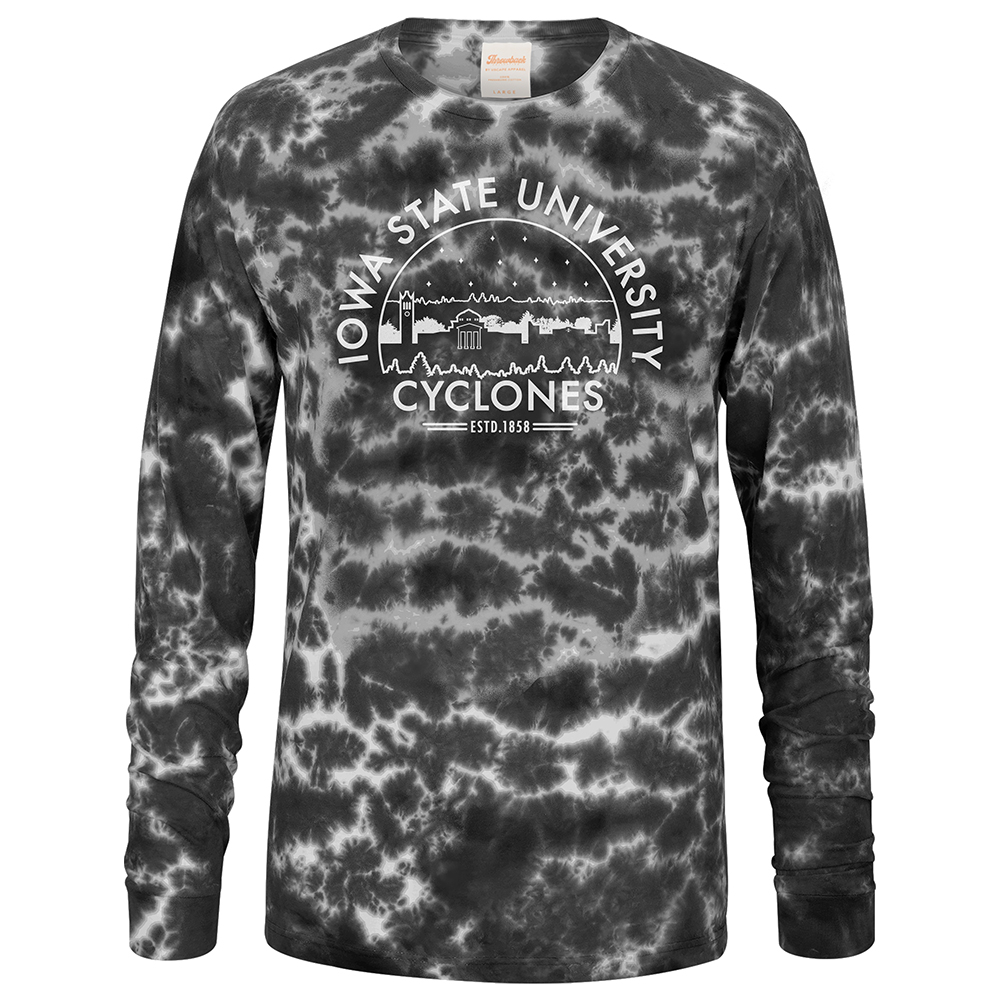 Image For Iowa State Skyline Tie dye Long Sleeve T-Shirt