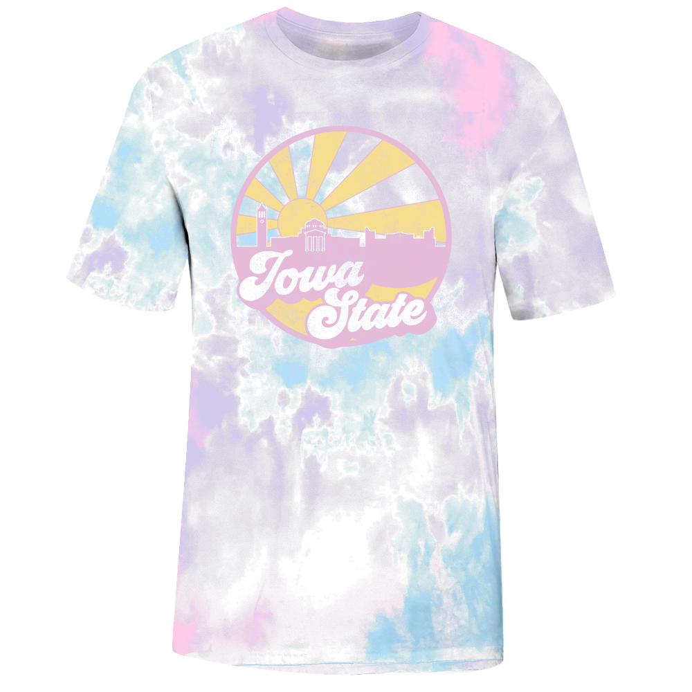 Cover Image For Iowa State Skyline Retro Tie dye Short Sleeve T-Shirt