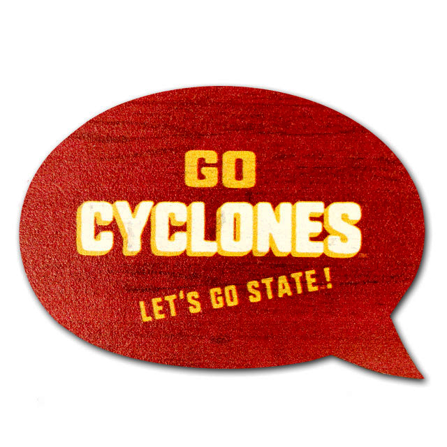Cover Image For Legacy® Go Cyclones Wood Word Bubble Magnet