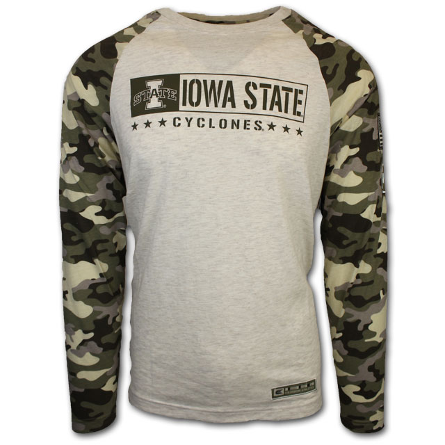 Cover Image For Colosseum® OHT Long Sleeve Oatmeal and Camo T-Shirt