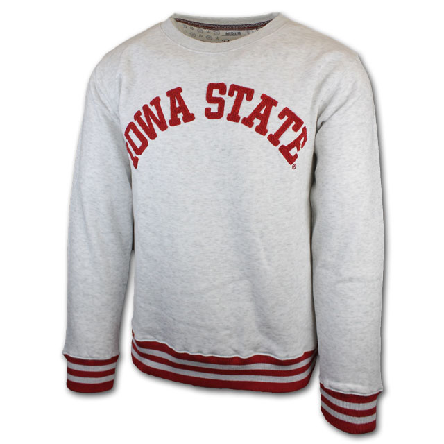 Cover Image For Pressbox® Light Grey Iowa State Crewneck
