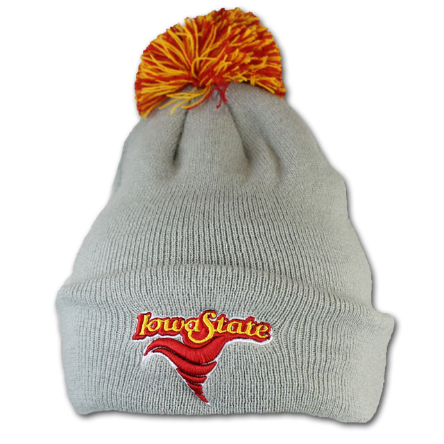 Cover Image For Zephyr® Grey Vintage Iowa State Pom Beanie