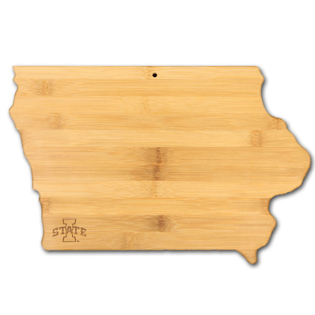 Cover Image For Iowa State Shaped Bamboo Serving and Cutting Board